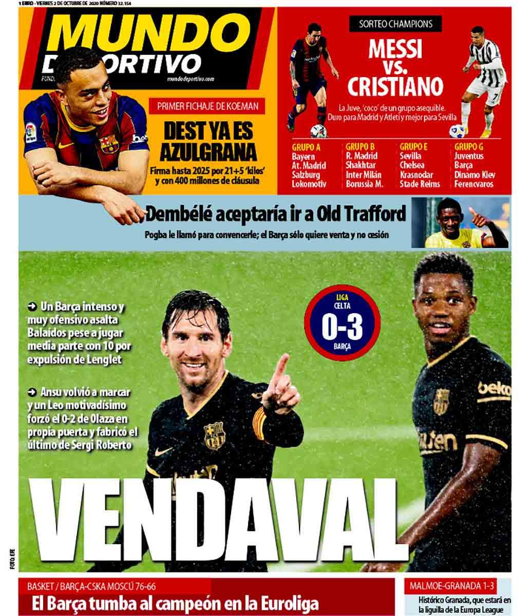 Portada Mundo Deportivo Vendaval