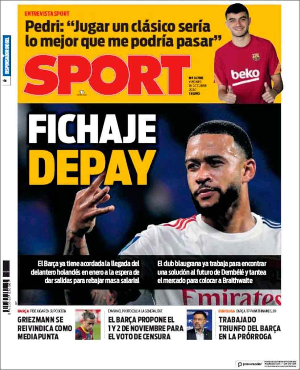 Portada Sport fichaje Depay