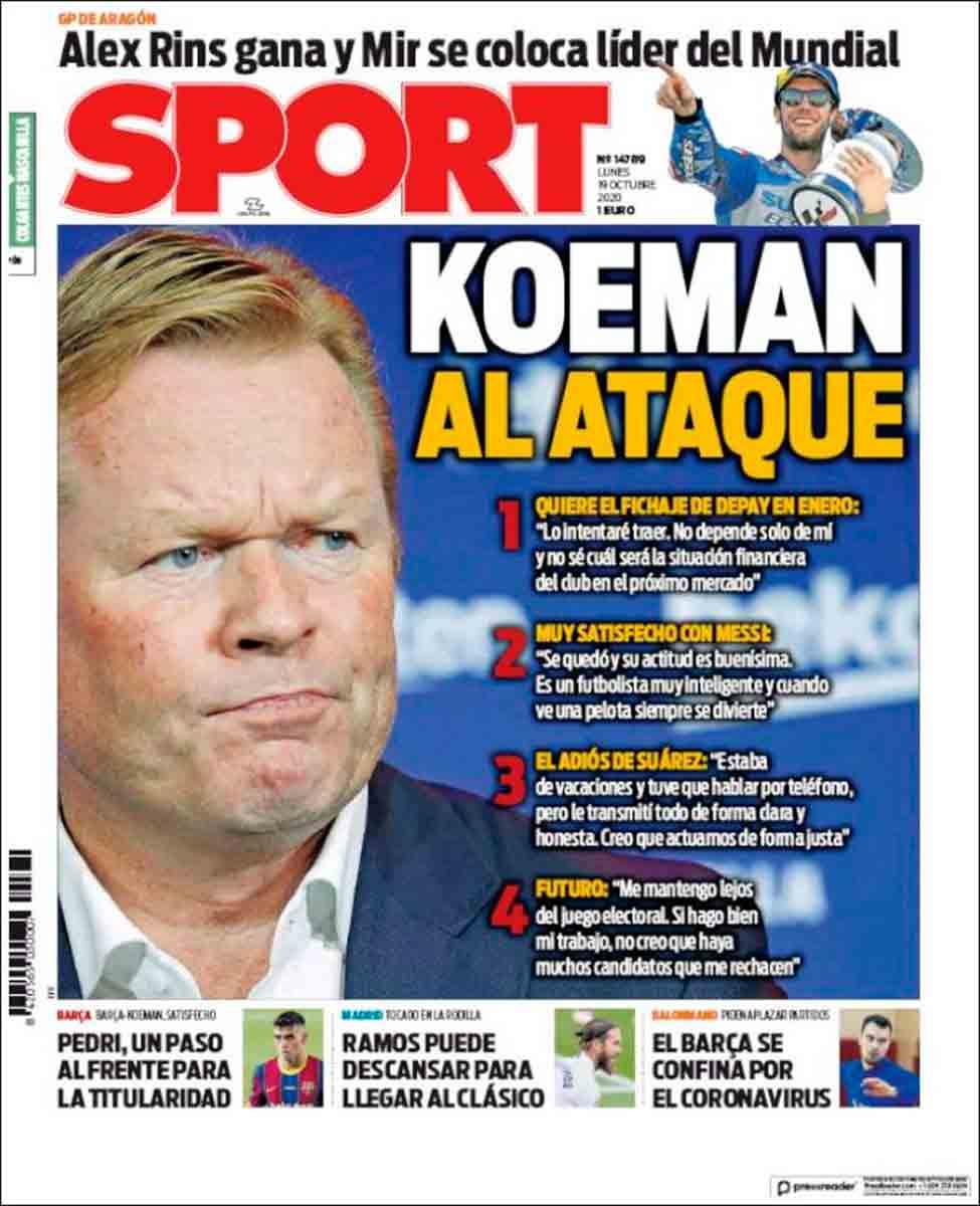 Portada Sport Koeman al ataque