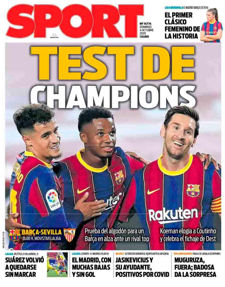 Portada Sport Test de Champions
