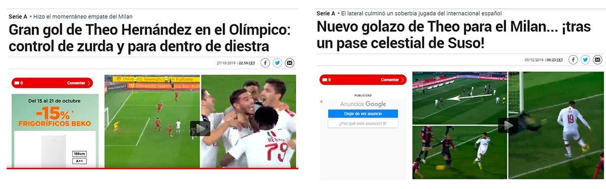 Theo Milan goles