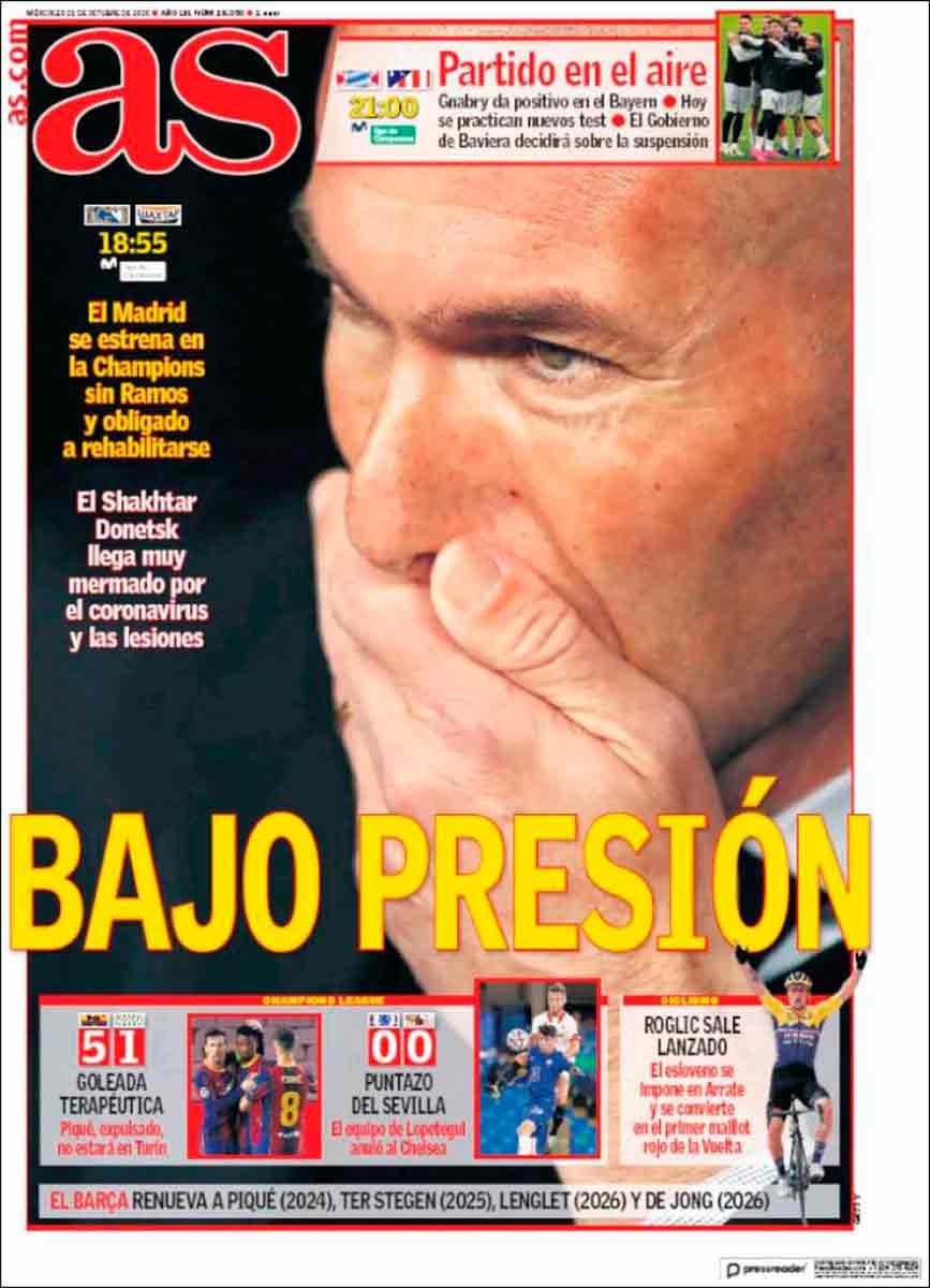 Portada AS Bajo presión Zidane