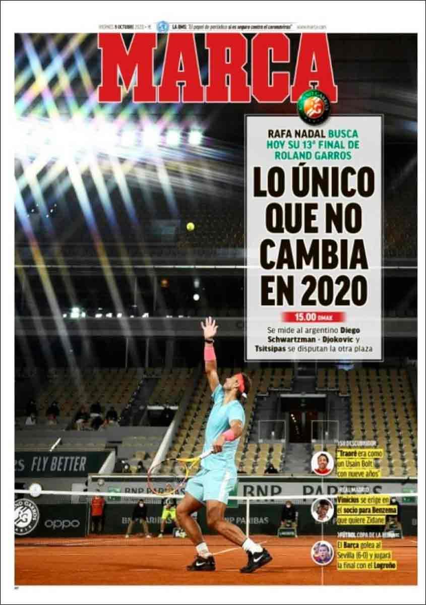 Portada Marca Rafa Nadal Roland Garros 2020