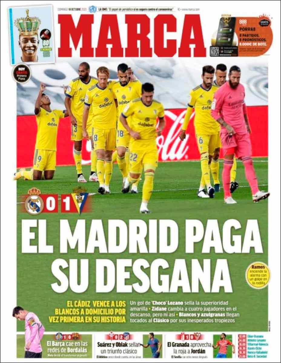 Portada Marca derrota Madrid Cádiz