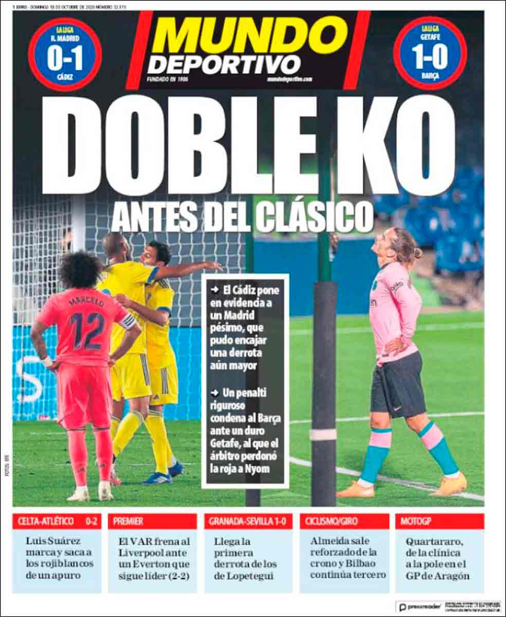 Portada Mundo Deportivo Doble derrota