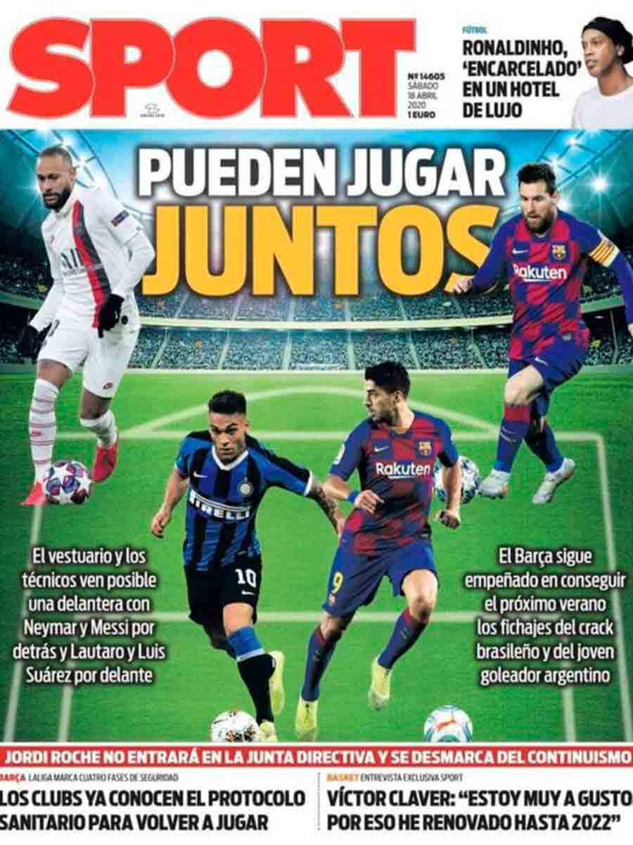 Messi, Suárez, Neymar, Lautaro juntos