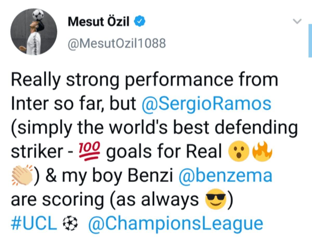 Tweet de Mesut Özil.