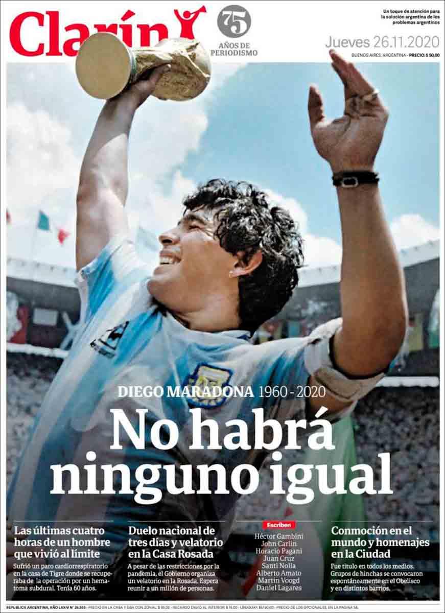 Portada Clarín Maradona