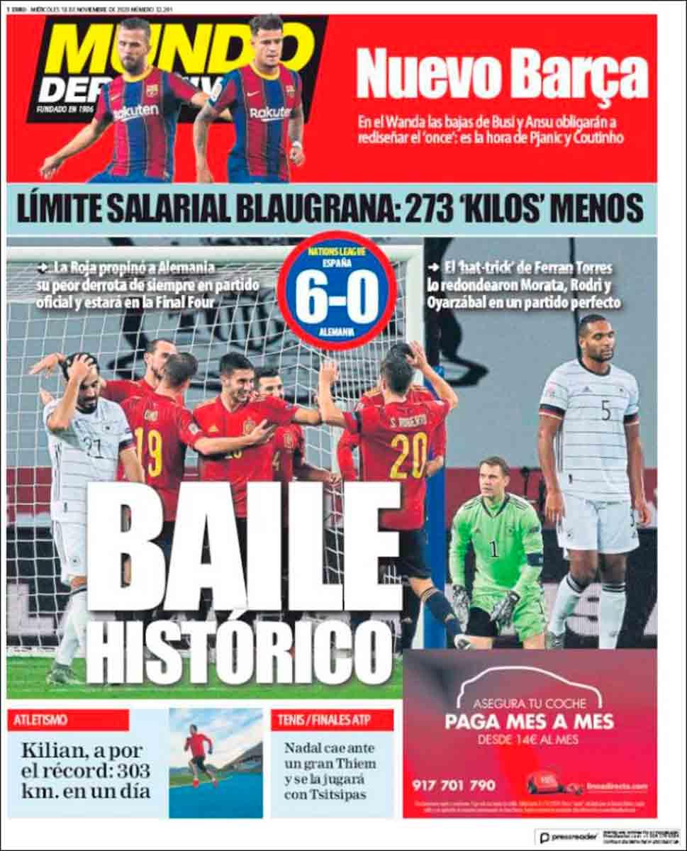 Portada Mundo Deportivo España 6-0