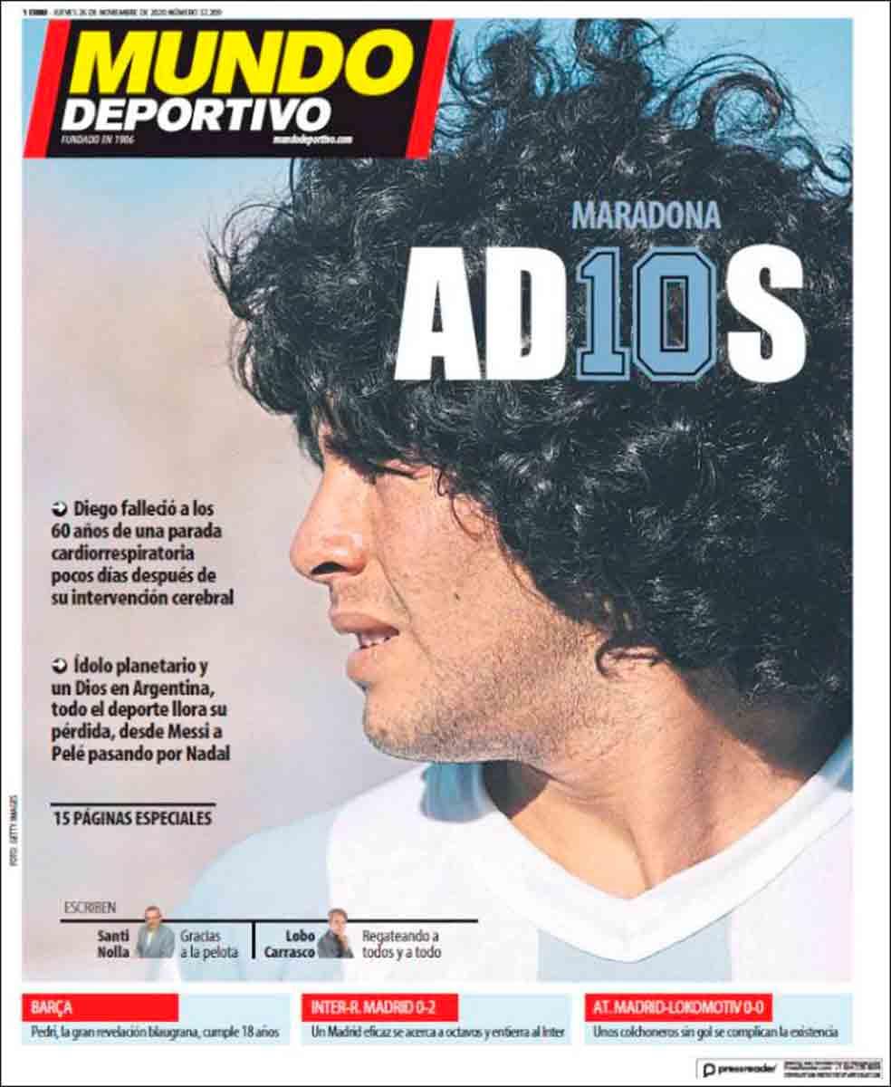Portada Mundo Deportivo Maradona