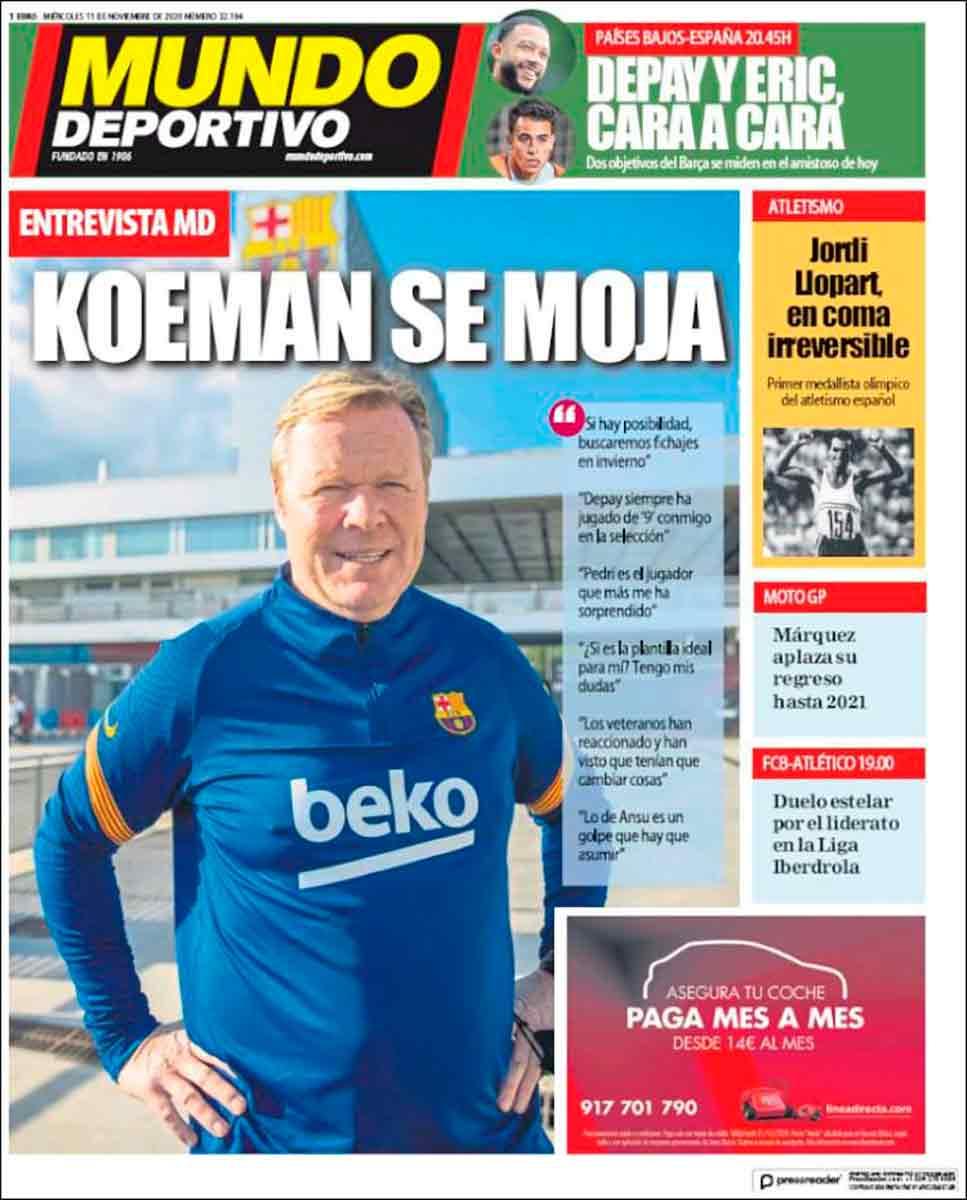 Portada Mundo Deportivo Koeman se moja