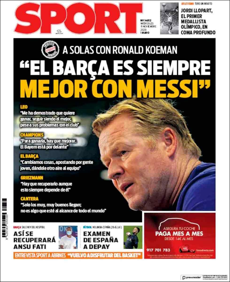 Portada Sport Koeman con Messi