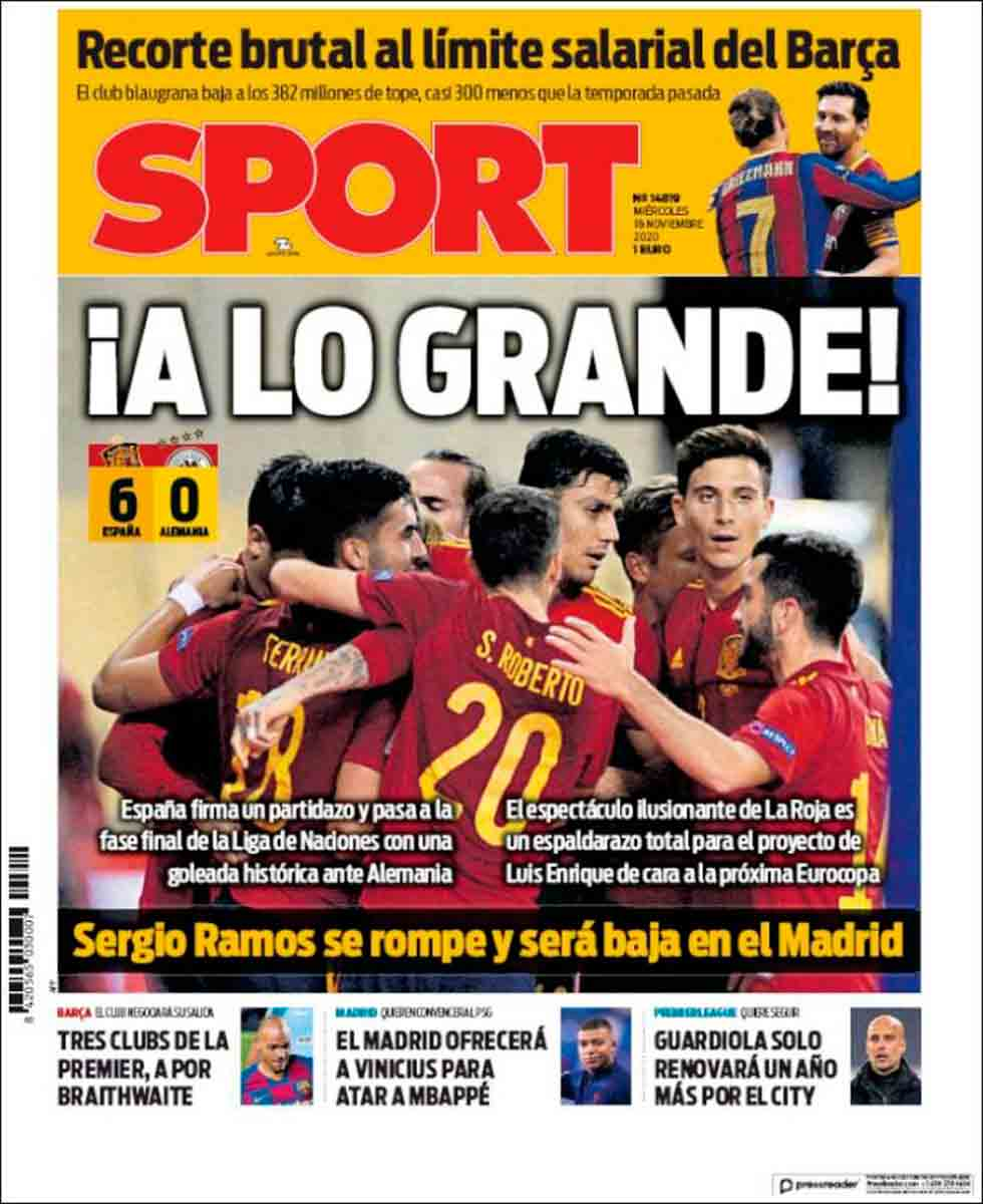 Portada Sport España 6-0