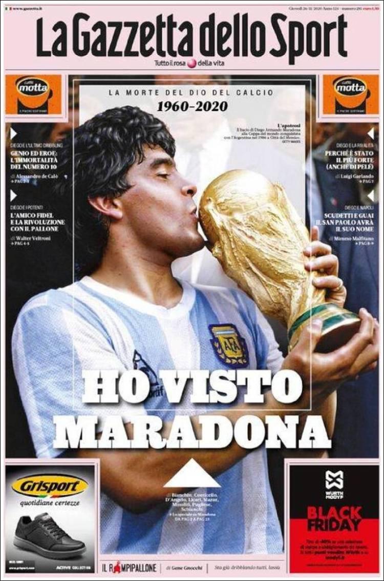 Portada Gazzetta dello Sport Maradona