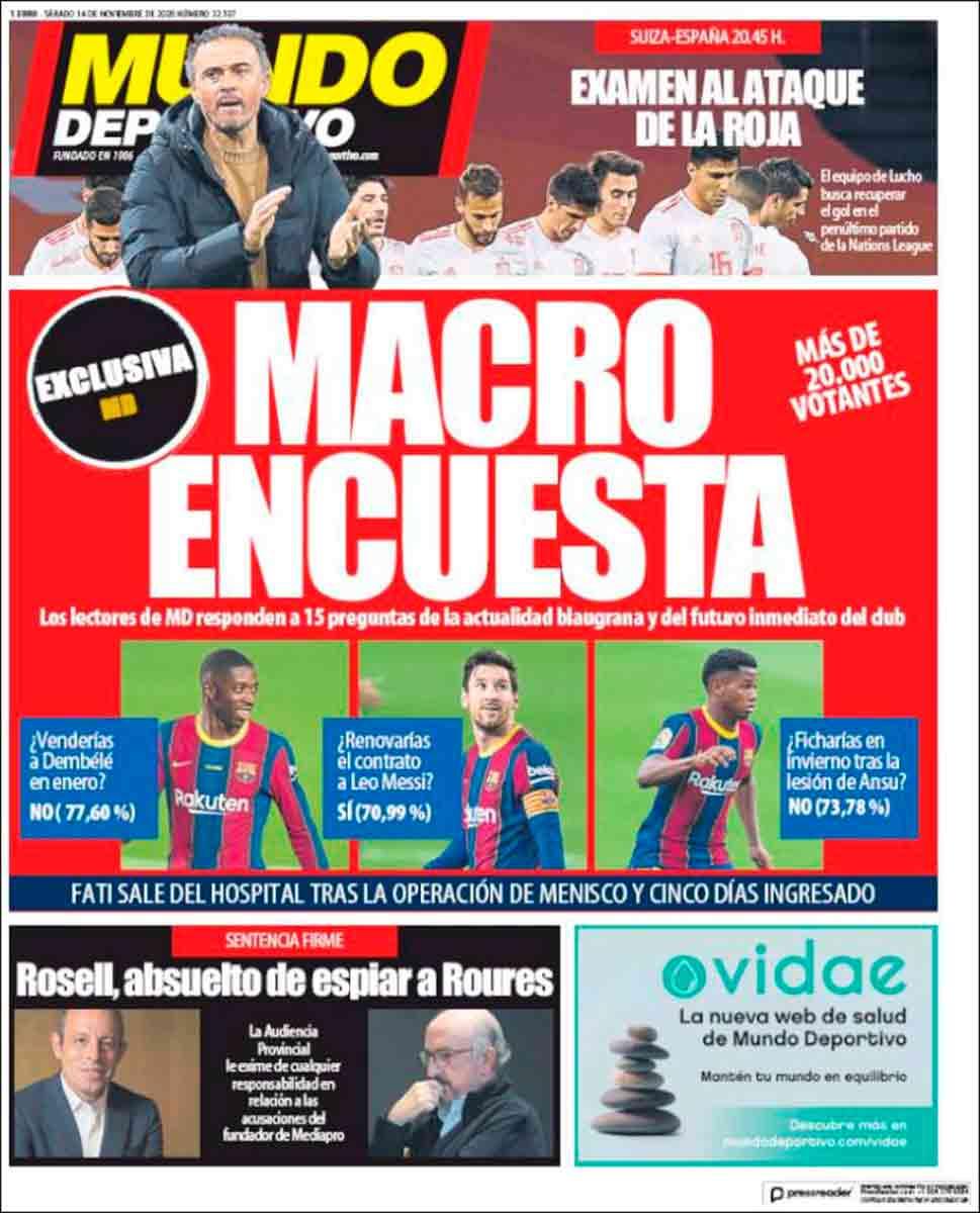 Portada Mundo Deportivo Macroencuesta