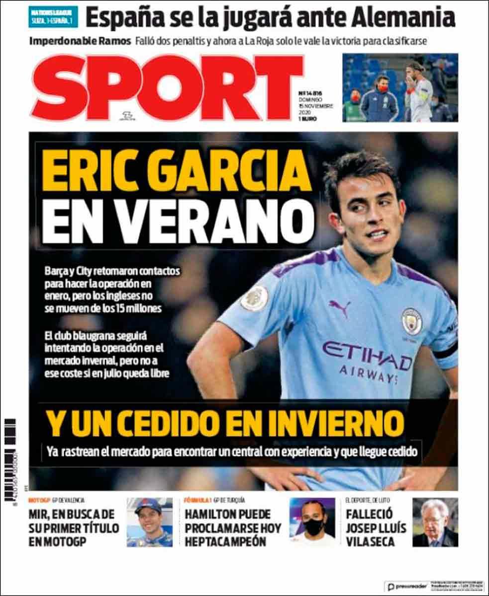Portada Sport Eric García Sergio Ramos