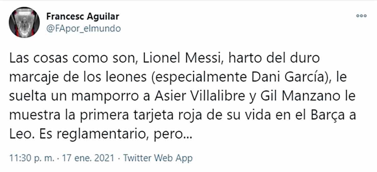Francesc Aguilar tuit Messi