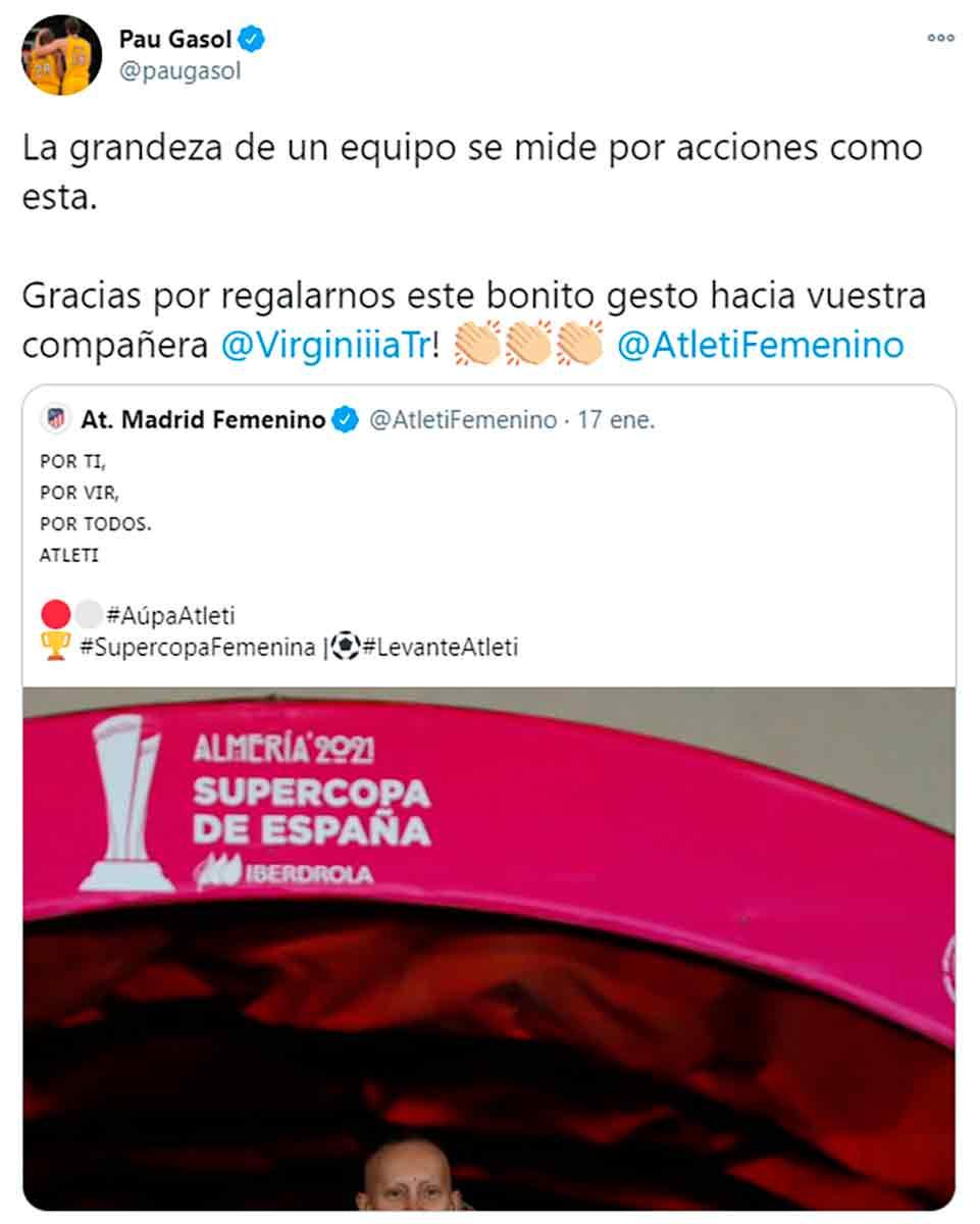 Virginia Torrecilla tuit Gasol