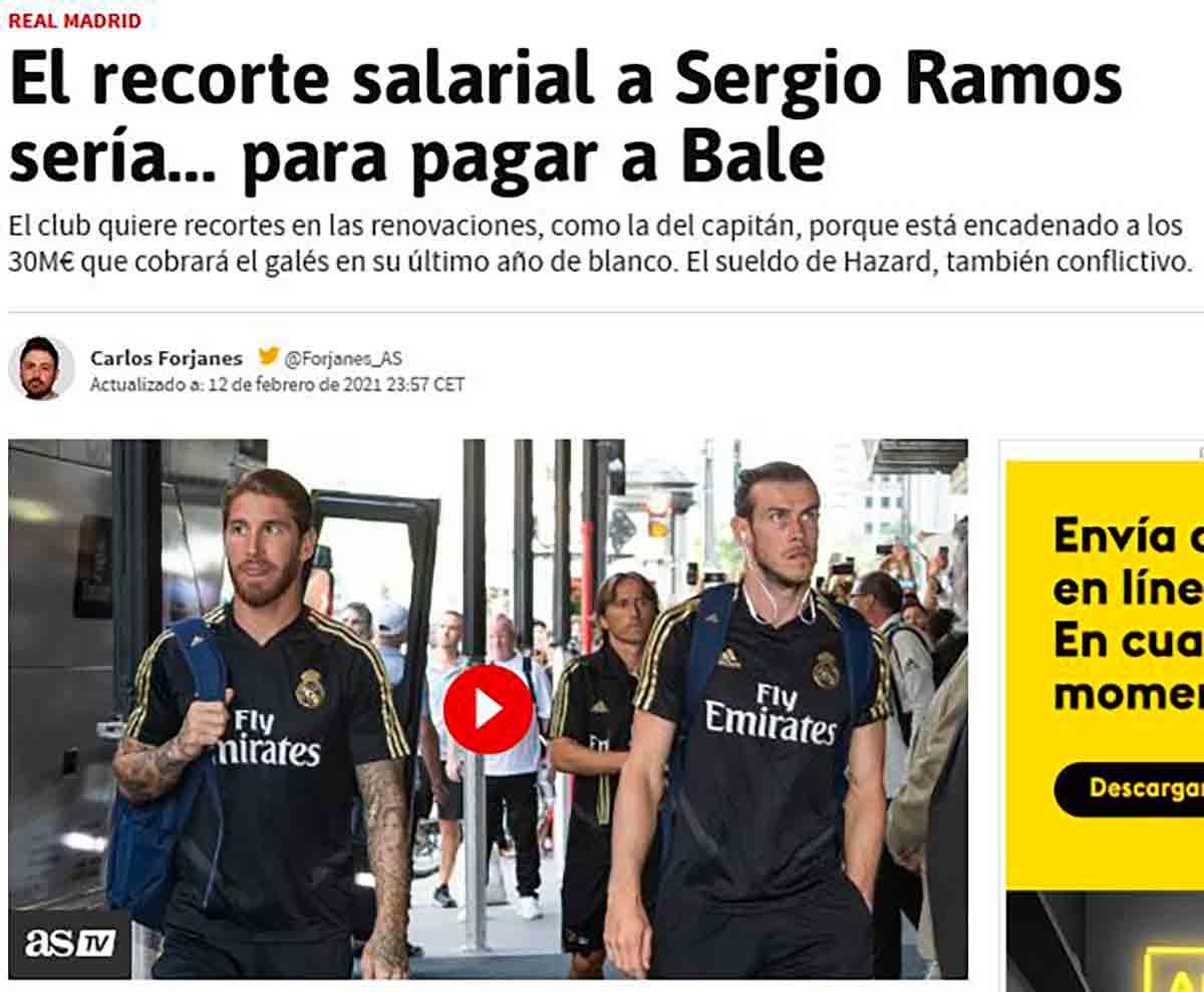 As recorte salarial Ramos Bale