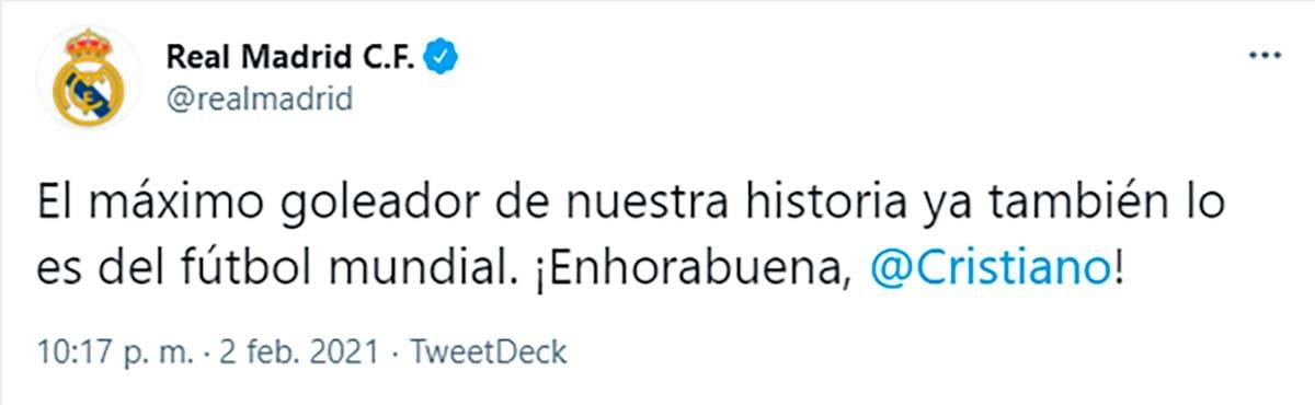 Felicitación Cristino Real Madrid