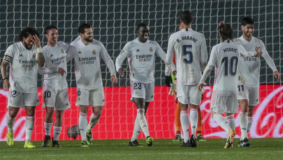 celebracion tras gol del Madrid