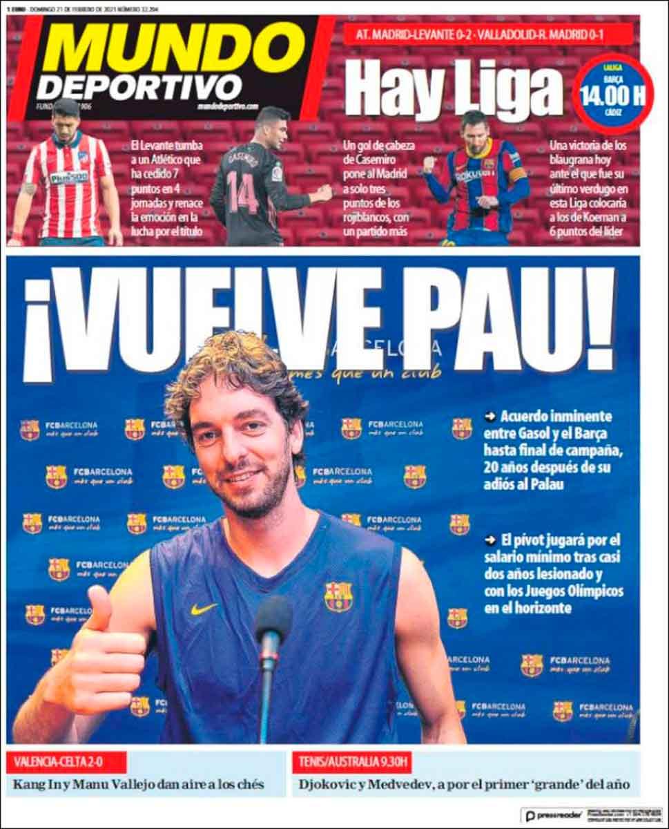 Portada Mundo Deportivo Pau