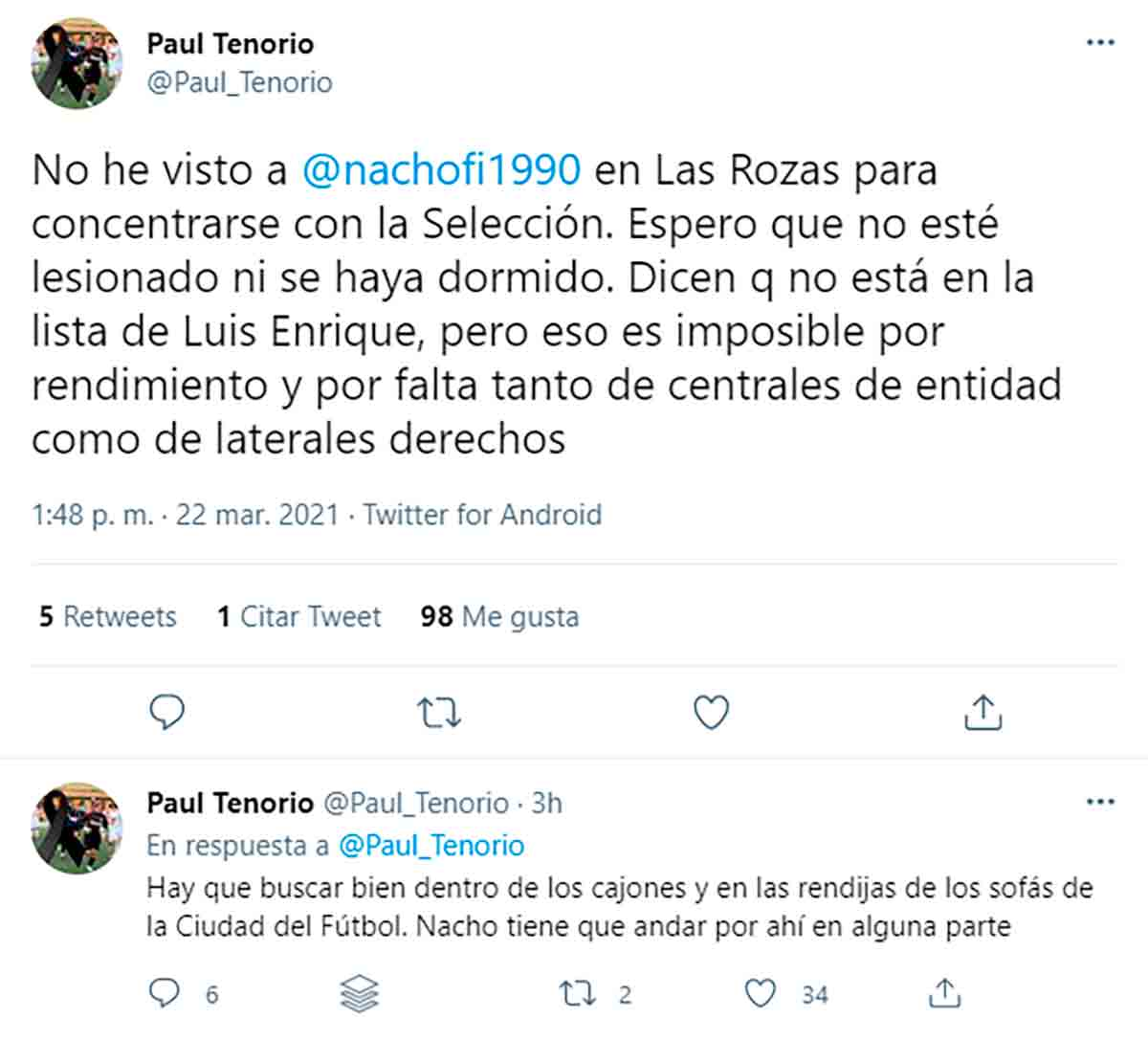 Tuit Nacho Paul Tenorio