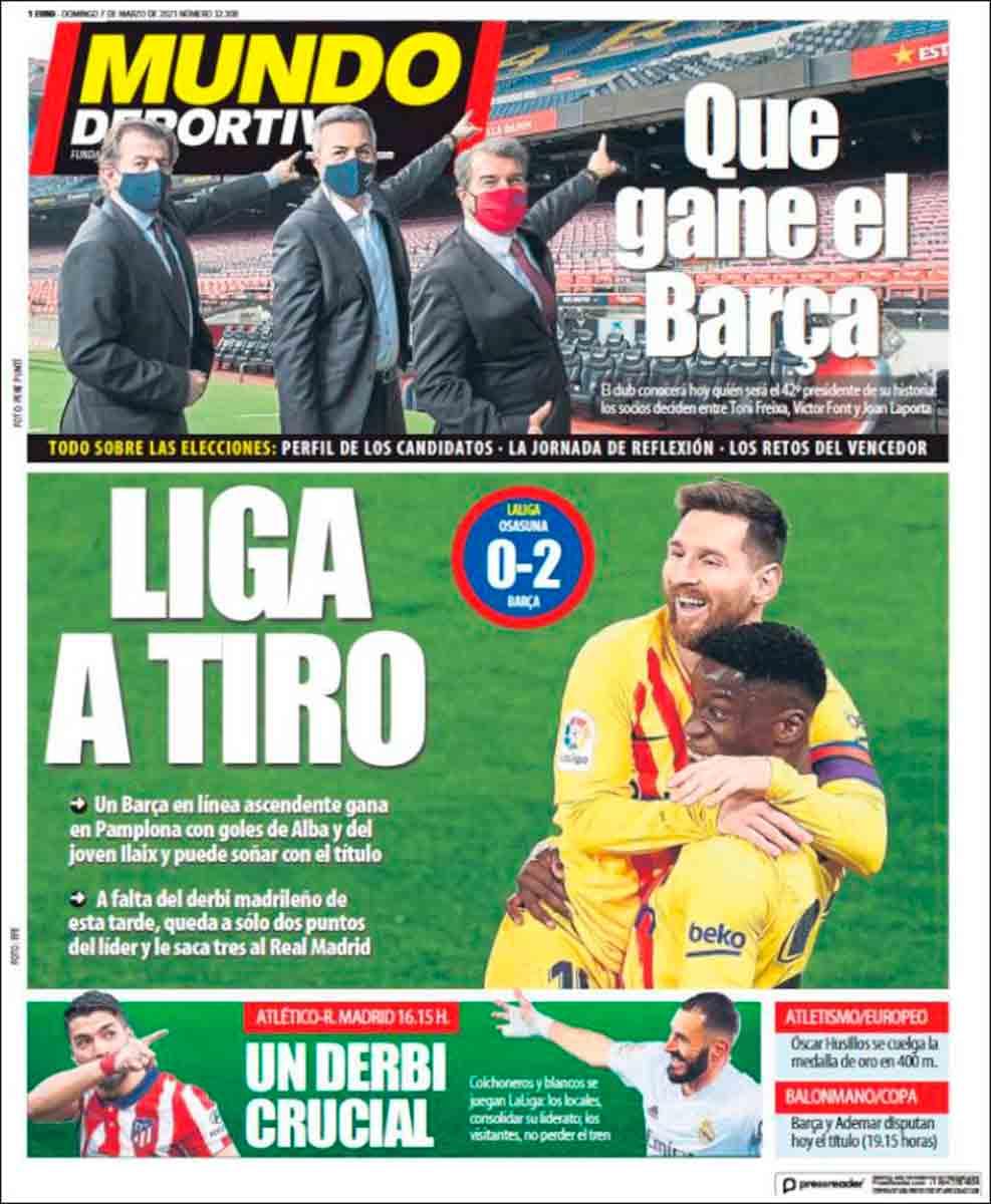 Portada Mundo Deportivo elecciones y derbi