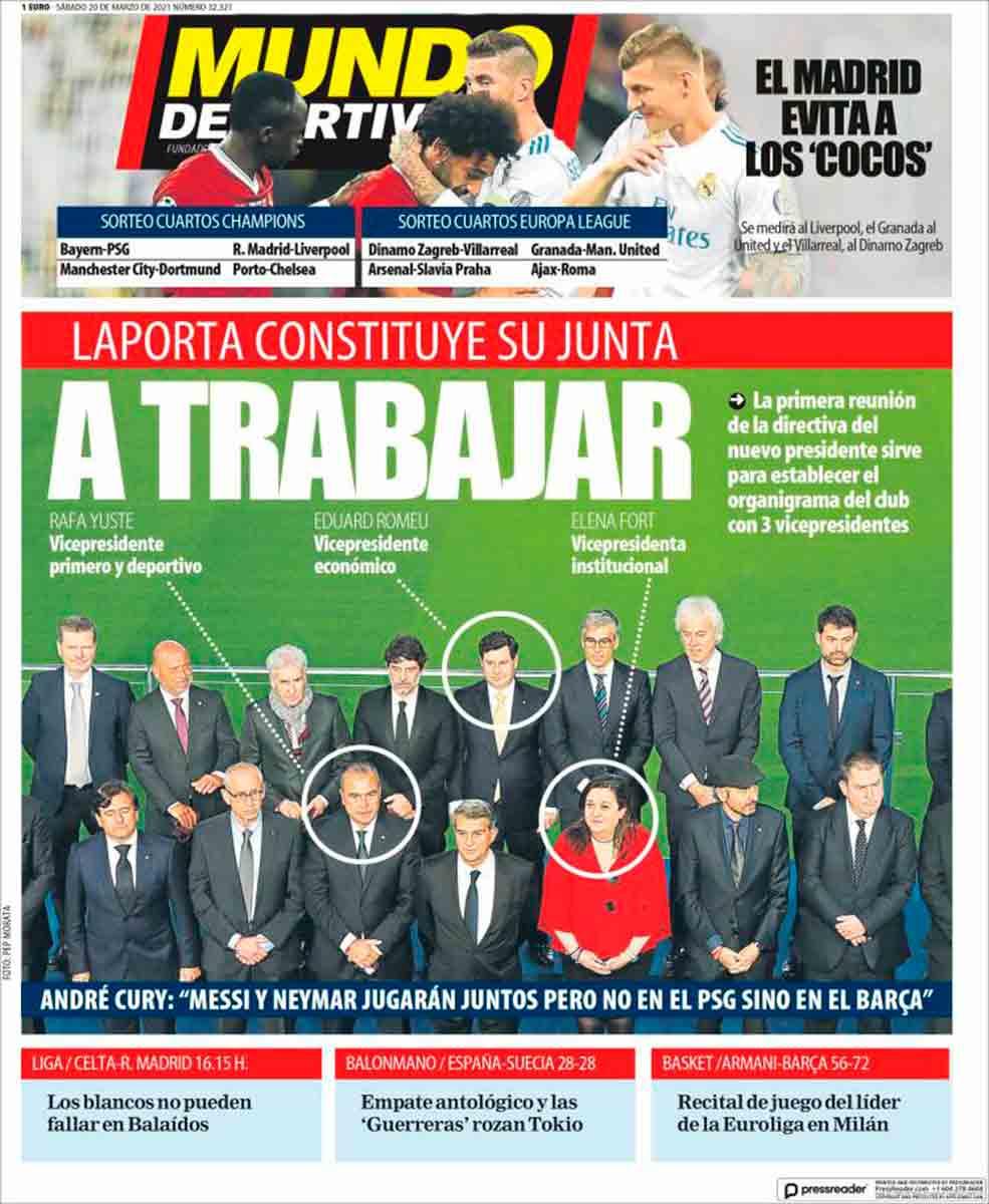 Portada Mundo Deportivo A trabajar