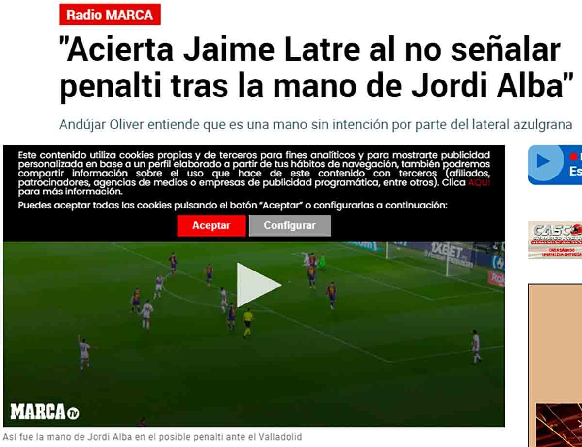 Andújar Oliver penalti Jordi Alba Valladolid