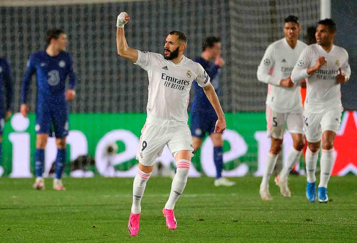 Benzema celebración gol Chelsea