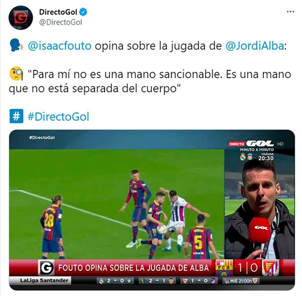 Isaac Fouto penalti Jordi Alba Valladolid