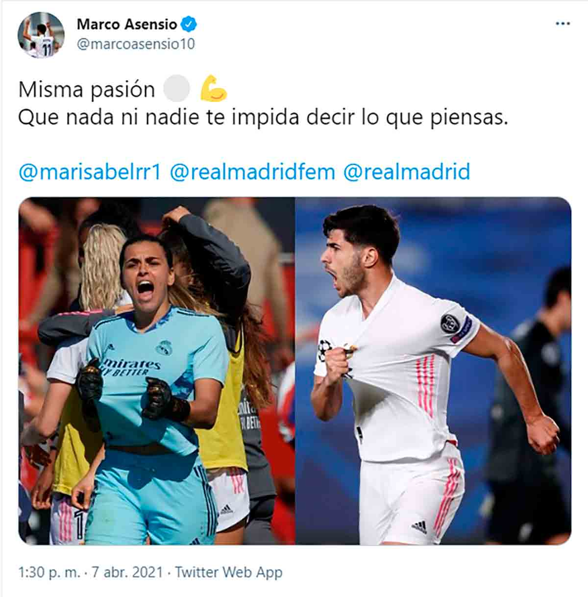 Tuit Marco Asensio