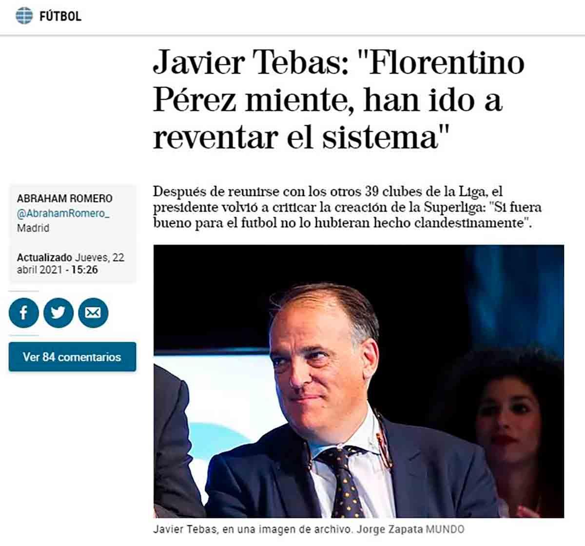 Javier Tebas Superliga