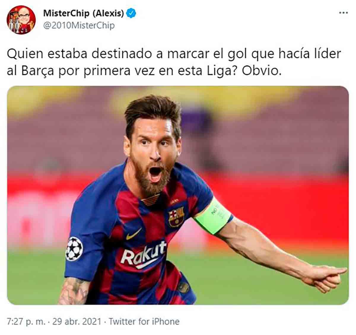 Tuit Mr Chip Messi