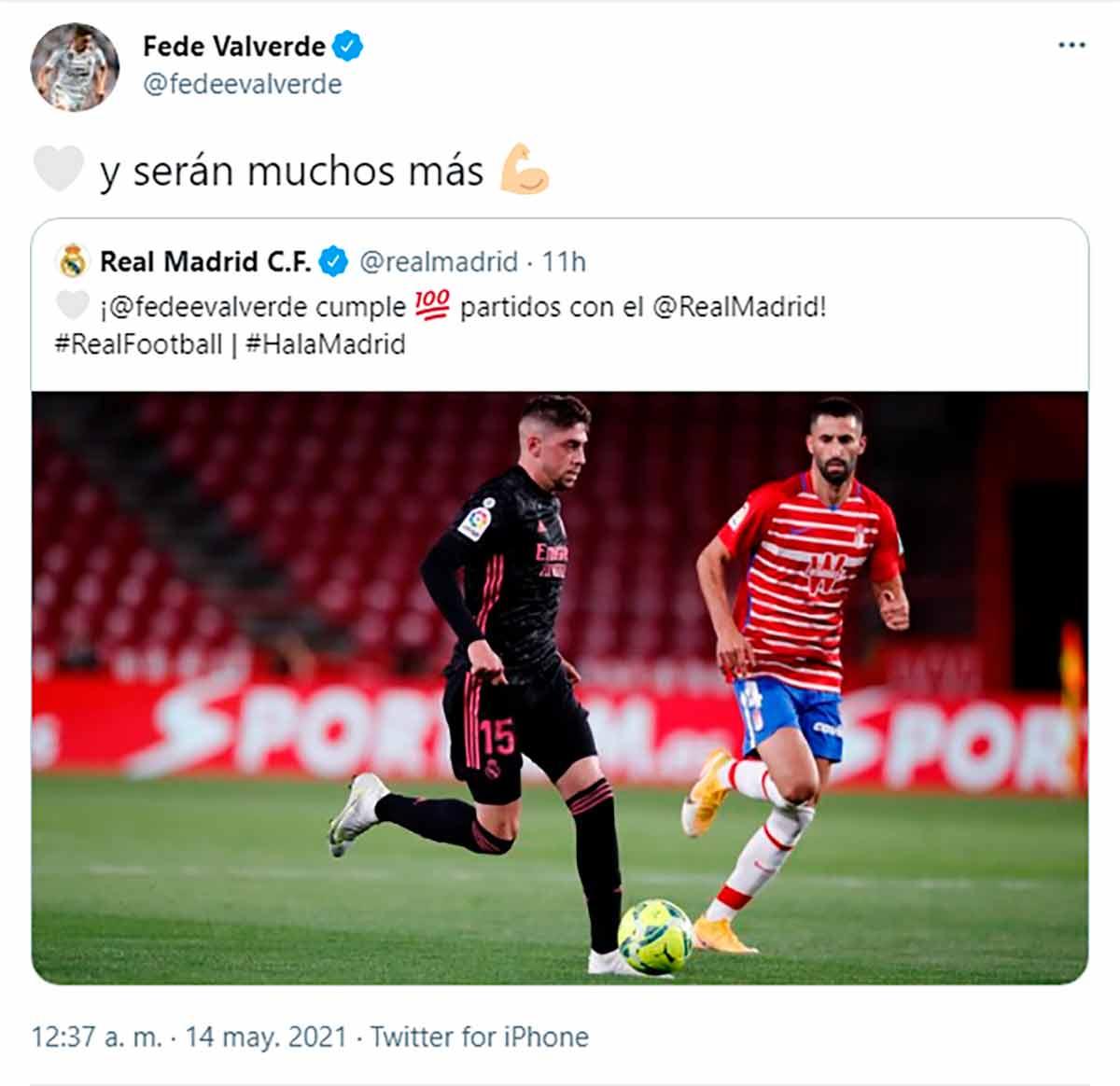 Tuit Fede Valverde 100 partidos