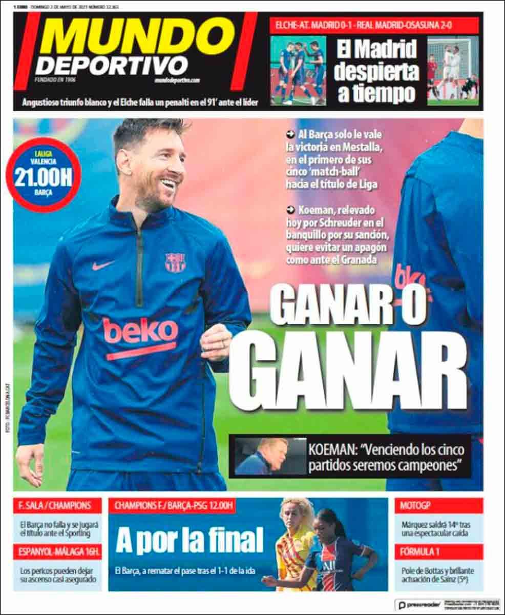 Portada Mundo Deportivo 02-05-21