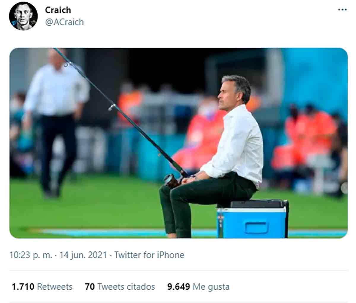 Tuit Luis Enrique pescando
