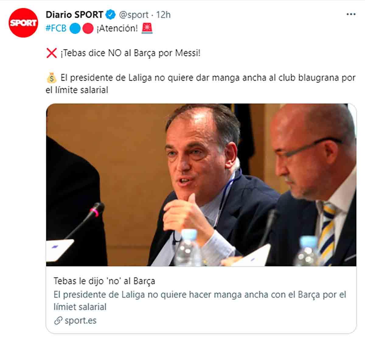 Tuit Sport manga ancha Tebas