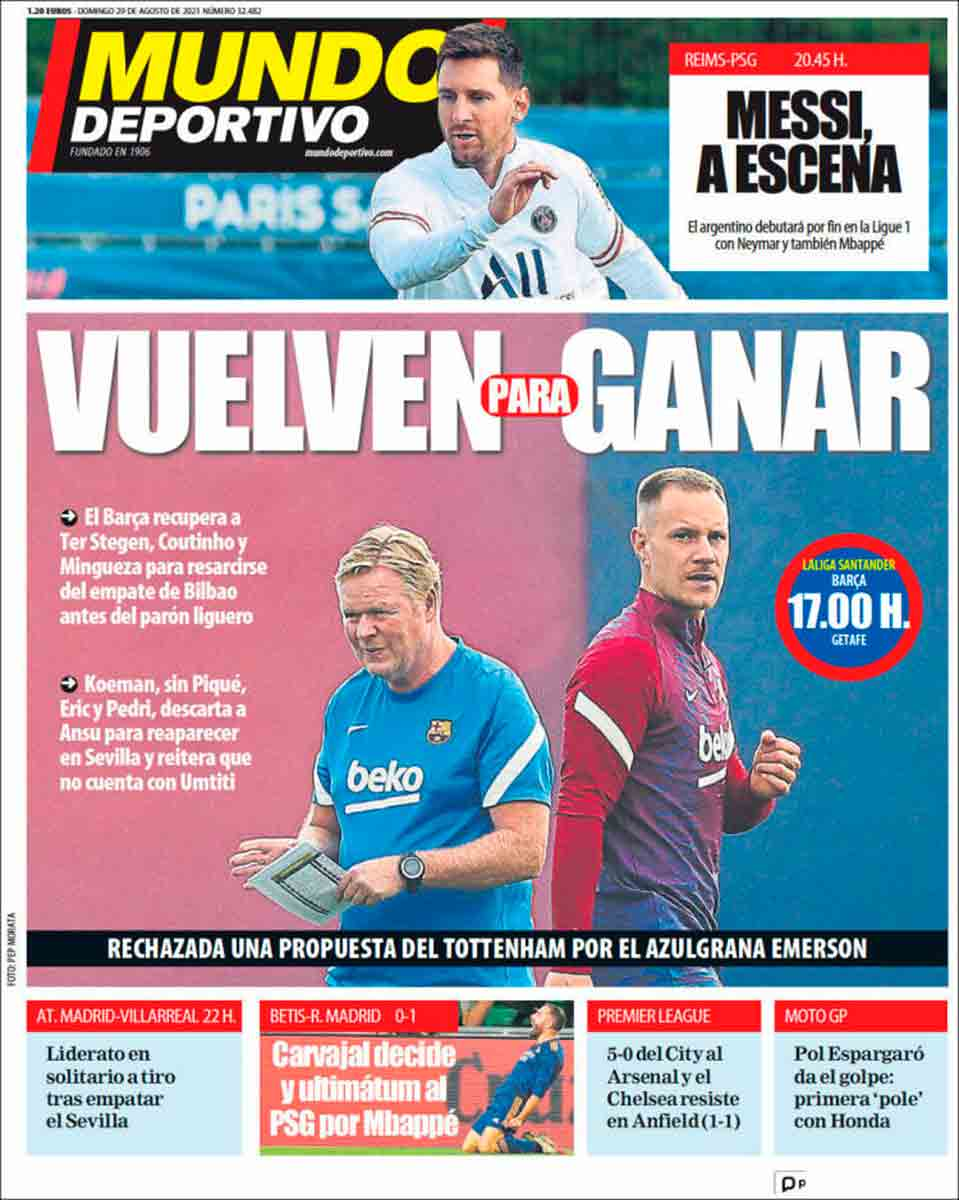 Portada Mundo Deportivo 29-08-21