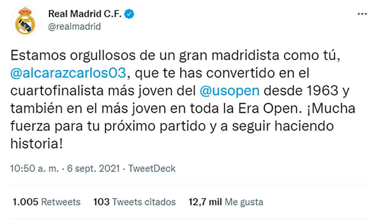 Tuit Real Madrid