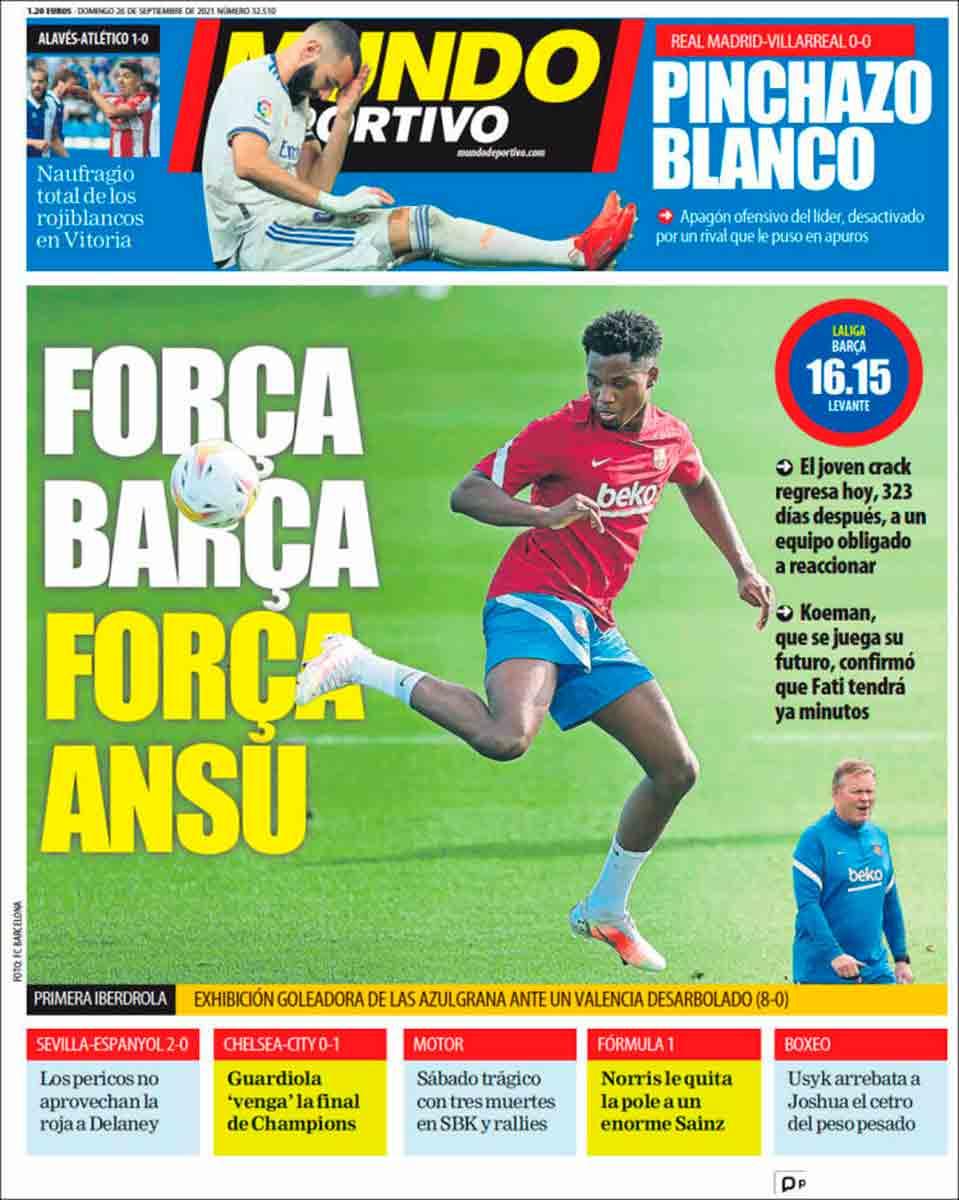 Portada Mundo Deportivo 26-09-21
