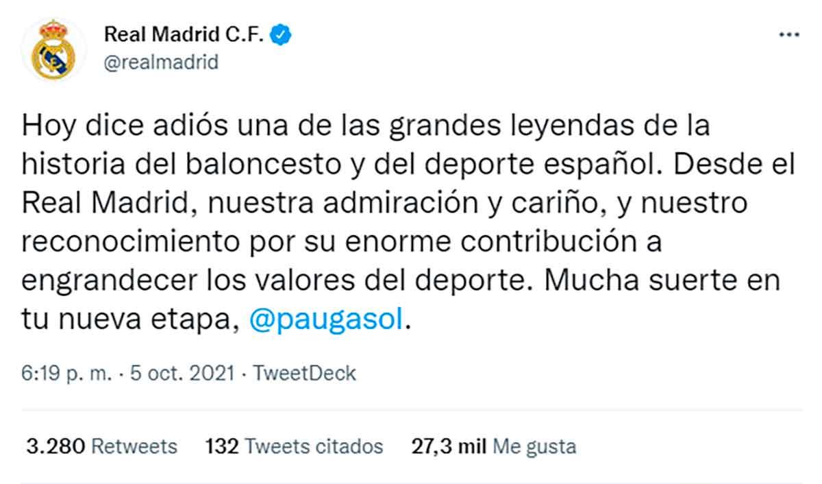 Tuit Gasol Real Madrid