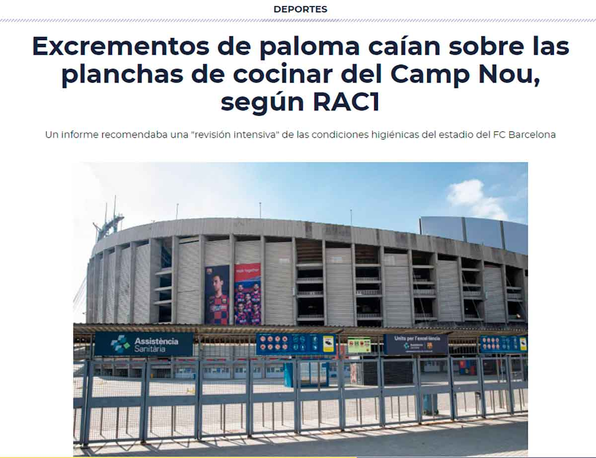 Tuit excremento palomas Camp Nou